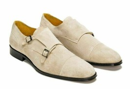 Handmade Men's Beige Color Monk Strap Dress Suede Shoes image 1
