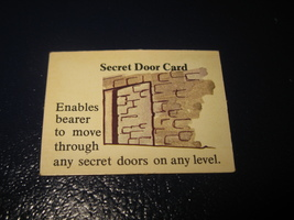 1980 TSR D&D: Dungeon Board Game Piece: Treasure 1st Level Card- Secret Door  - $1.00
