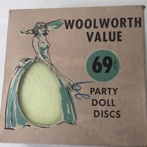VINTAGE 50s WOOLWORTH COQUETTE PARTY DOLL 50 DISCS  DRESS-MAKING Yellow - $18.69
