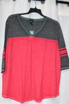 New Womens Plus Size 3X Burnt Orange & Gray Colorblock Gridiron Tee Shirt Top - $18.37