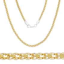 2.3mm Women's Italy 925 Silver 14k Yellow Gold Popcorn Link Chain Pave N... - $23.24+