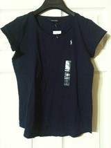 RALPH LAUREN TEENAGE GIRLS NEW NAVY 100%COTTON SHORT SLEEVE TOP SIZE:XL(16) - $24.40