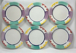 """6 Pier One (1) Salad Plates w/ Multicolor Panels & Triangle Design ITALY 8"""" - $23.50"""