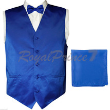 ROYAL BLUE Solid Tuxedo Suit Vest Waistcoat and Butterfly Bow tie & Hanky Formal - $18.79+