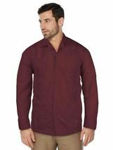 Men's Beach Guayabera Cuban Wedding Button-Up Long Sleeve Burgundy Dress Shirt image 1