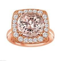 14K ROSE GOLD 5.56 CARAT PEACH MORGANITE & DIAMOND ENGAGEMENT RING HUGE ... - $3,550.00