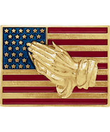 14K Gold or Sterling Silver American Flag with Praying Hands Enamel Lape... - $98.99+