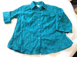 City Blues by Koret 3/4 Sleeve Button Up Shirt S Womens Missy Gem Green NWT - $21.77