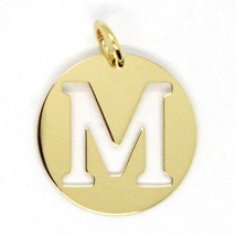 18K YELLOW GOLD LUSTER ROUND MEDAL WITH LETTER M MADE IN ITALY DIAMETER 0.5 IN image 1