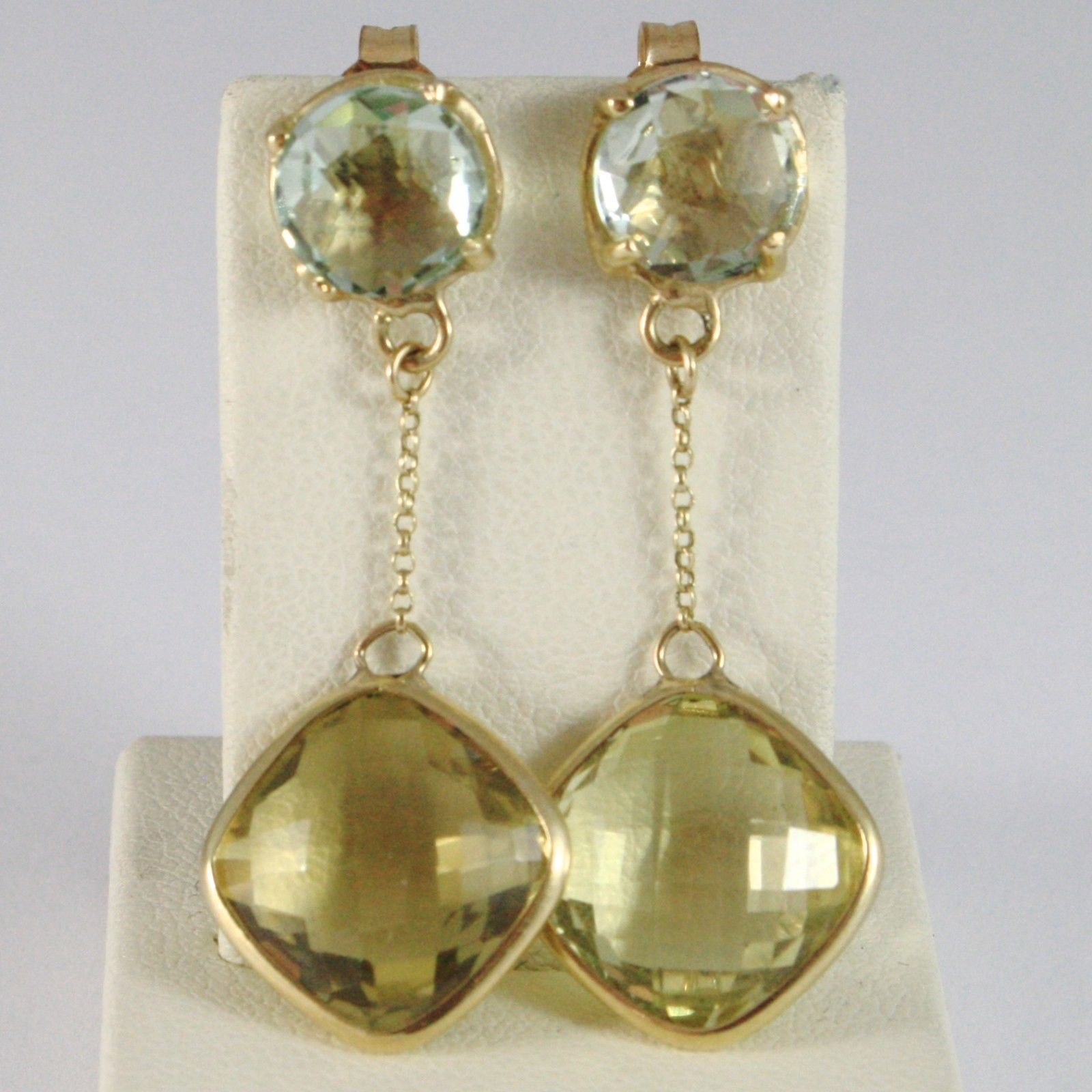 9K YELLOW GOLD PENDANT EARRINGS, CUSHION YELLOW CITRINE AND GREEN PRASIOLITE