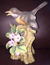 Vintage Lefton Robin On Branch Hand Painted Figurine KW 7020 - $49.47