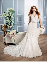 New MOONLIGHT Lace V-Neckline Mermaid Wedding Gown with Keyhole Back H1312  - $420.75
