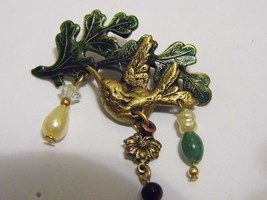 VTG Lovely Bird On Branch Dangling Pearl Bead Brooch Pin Costume Fashion... - $10.66