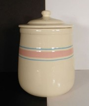 McCoy Pottery Sugar Canister and Lid Pink Blue Banded Stripes - $14.84