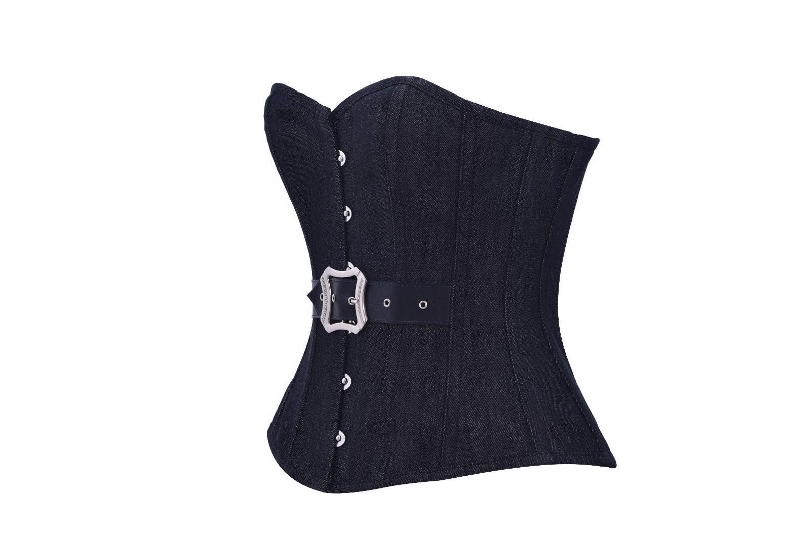 Black Denim Leather Belt Gothic Steampunk Bustier Waist Training Overbust Corset
