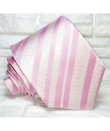 Necktie Striped pink tie New 100% silk Top Quality Made in Italy Morgana... - $27.46