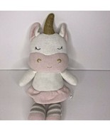 Living Textiles Plush Kenzie Unicorn Knit Toy Baby Infant Girls Rattle W... - $19.34