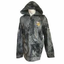 Reebok NFC NFL Minnesota Vikings Sweatshirt Hoodie Large Grey Pattern Zi... - $49.49