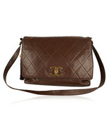 Authentic Chanel Vintage Brown Quilted Leather Large Messenger Bag - $3,168.00