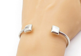 MEXICO 925 Sterling Silver - Vintage Shiny Square Detail Cuff Bracelet -... - $43.95