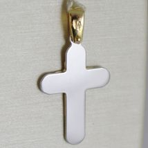 Cross Pendant Gold Yellow White 750 18k, Double Layer Satin, Made in Italy image 3