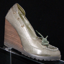 Steve Madden 'Lenor' olive leather lace slip on boat penny wedge loafer heel 6M - $17.14
