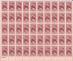 1957 3 Cent Marquis de Lafayette Sheet of 50 Postage Stamps Scott 1097 B... - $10.88