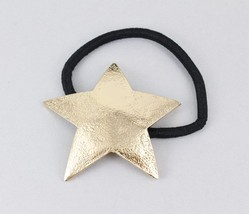 Gold STAR metal cuff ponytail holder genie style stretch elastic cover - $4.18