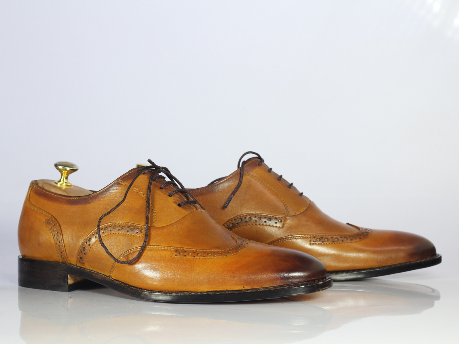 Handmade Men's Tan Wing Tip Lace Up Oxford Leather Shoes