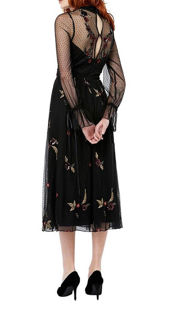 MONSOON Roco Embroidered Midi Dress