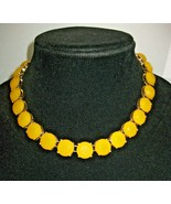 """J Crew Faux Yellow Citrine Faceted """"Stone"""" Necklace 16"""" Signed Goldtone ... - $29.69"""