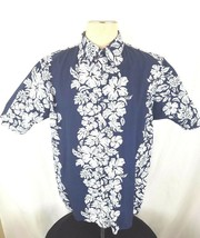 PINEAPPLE CONNECTION HAWAIIAN S/S BUTTON FRONT -  NAVY BLUE MENS XL (A0108) - $12.61