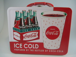 Coca-Cola Tin Embossed Lunch Box Carry All Cup 6-Pack Prepared By the Bo... - $13.37