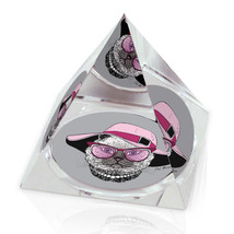 "Elegant Cat Pink Hat Funny Cat Illustration 2"" Crystal Pyramid Paperweight - $15.99"