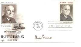 First Lady Bess Truman autograph. Excellent signature on First Day Cover. - $85.00