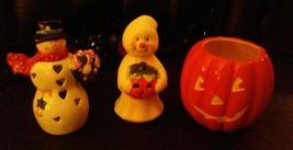 Vintage 3 Piece Ceramic Snowman Ghost Tea Candle Holders Hallmark Jack o Lantern - $7.91