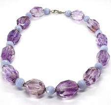 Silver necklace 925, FLUORITE OVAL Faceted Purple, Spheres Chalcedony image 1