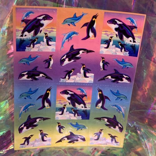 VINTAGE Lisa Frank FULL EXCELLENT Sticker Sheet 90s ORCAS WHALES Sea Ocean S269
