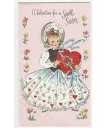 Vintage Valentine Card Girl Holds Heart Shaped Candy Box Glitter The DA ... - $8.90