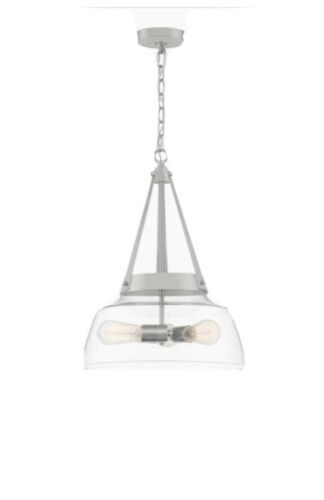 Quoizel Abbott Brushed Nickel Traditional Seeded Glass Bowl Pendant Light - $88.85