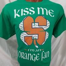 Kiss Me I'm An Orange Fan SU Syracuse Green Graphic T Shirt 100% Cotton XL - $18.81