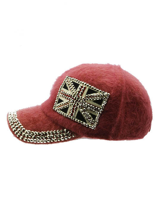British Flag Soft Furry Hat Metallic Stud Bling Great Britain Union Jack Coral