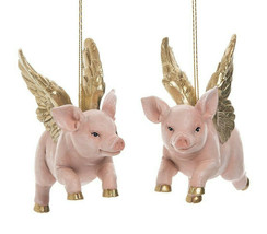 """GALLERIE II SET OF 2 HAND PAINTED RESIN 5"""" PIGGY ANGEL CHRISTMAS ORNAMENTS - $24.88"""