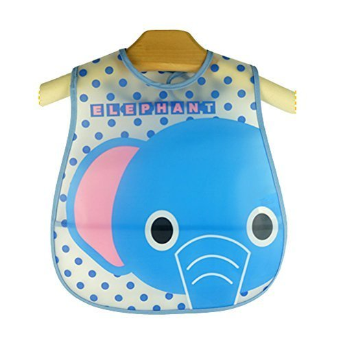 Cute Cartoon Elephant Pattern Baby Waterproof Bib (Blue)