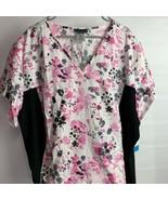 Women's Cherokee Flexibles Floral Print Uniform Scrub Top Size 5XL Black Pink - $34.65