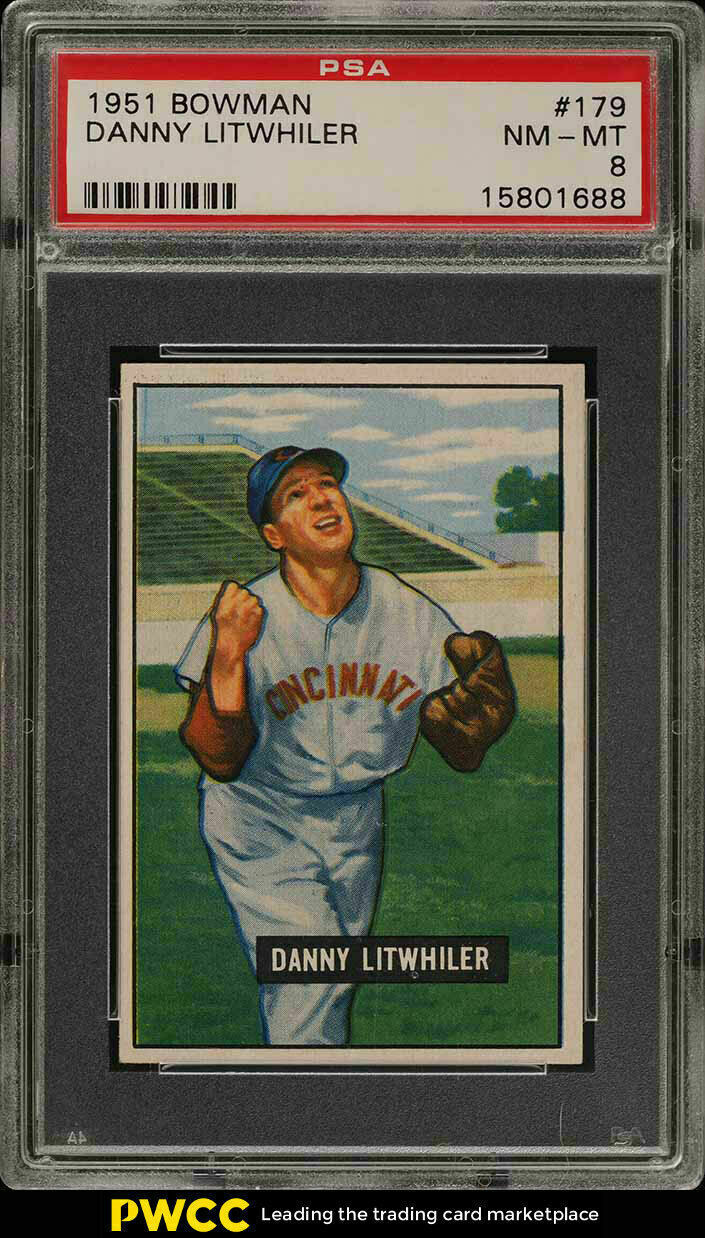 Primary image for 1951 Bowman Baseball Card #179 Danny Litwhiler PSA 8 NM-MT  Reds