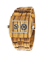 Zebra dual dial wooden watches for men groomsmen gifts idea thumbtall