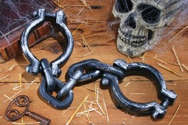 Hand Cuffs Prop Zombie Shackles Dungeon Prisoner Halloween Haunted House... - $38.99