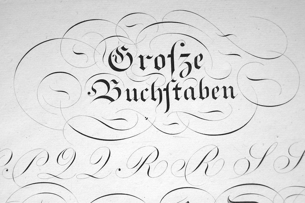 "1826 PENMANSHIP Calligraphy Old English Text - 12"" x 18"" Superb Print #11"