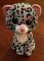 "Ty Beanie Boos 6"" Plush Tasha Pink & Gray Leopard Cat Stuffed Animal Toy... - $3.95"